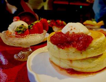 「一皿で4度おいしいいちごほっとけーき」ミルクプリンもついた食べ応えのある椿サロンのスイーツ