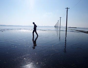 """千葉にウユニ塩湖があった。電柱が海に浮かぶ""""江川海岸"""""""