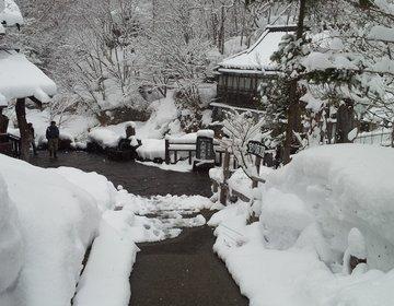 【群馬県の混浴露天風呂 宝川温泉 汪泉閣】東京から2時間 雪の中の露天風呂と蕎麦