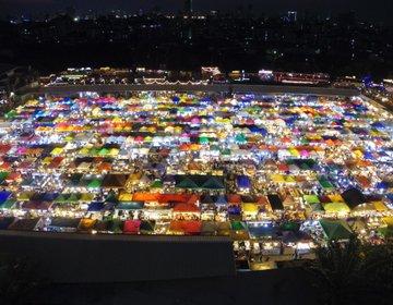 タイ・バンコクで偶然できた奇跡の夜景!ナイトマーケット「タラートロットファイ・ラチャダー」♡