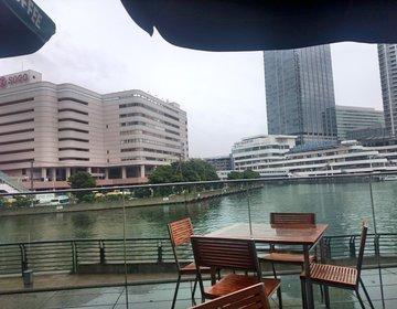 横浜雨の日デート。駅から濡れないで行けるお洒落な水辺のスタバが空いていて穴場!小雨ならok!