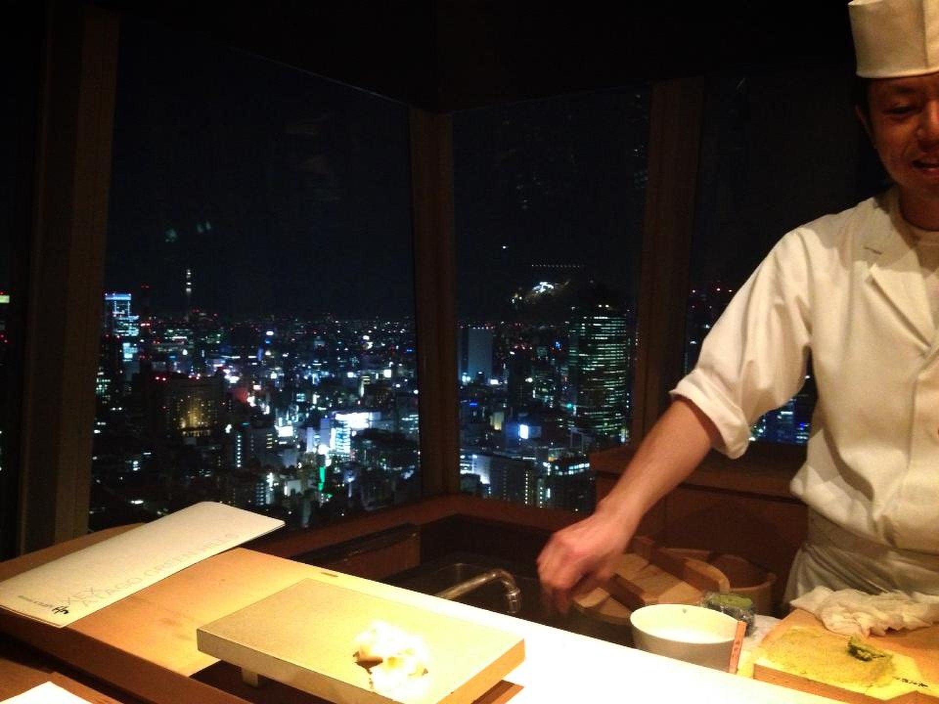 東京都心の夜景を拝みながらXEX ATAGO(ゼックスアタゴ)にてお寿司をいただく。